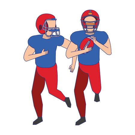 american football sport game players training with ball wearing helmet cartoon vector illustration graphic design Illusztráció