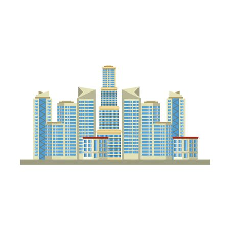 buildings landscape urban city view cartoon vector illustration graphic design