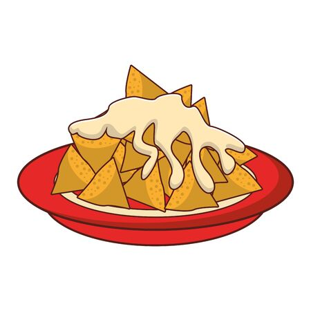 mexico culture and foods cartoons plate with nachos and melted cheese vector illustrationgraphic design