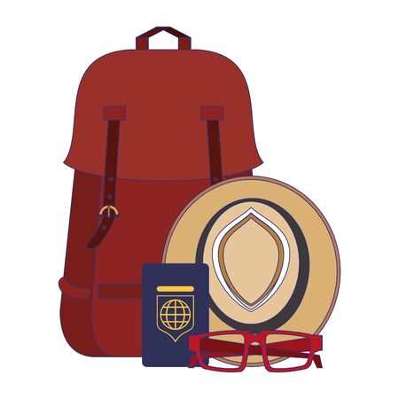 Travel vacations and summer backpack with hat sunglasses and passport cartoons