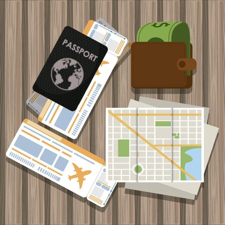 Travel and tourism elements passport wallet city map and flight ticket on table vector illustration graphic design