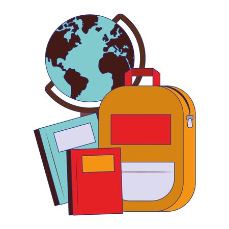 Back to school utensils world globe and backpack with notebooks cartoons vector illustration graphic design