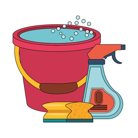 Cleaning equipment and products disinfectant with sponge and water bucket vector illustration graphic design. Stock Illustratie