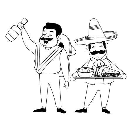mexican food and tradicional culture with a mariachis man with mexican hat, moustache and tequila bottle and man with moustache and mexican hat holding a tray with mole sauce and taco avatar cartoon character portrait in black and white vector illustration graphic design Çizim