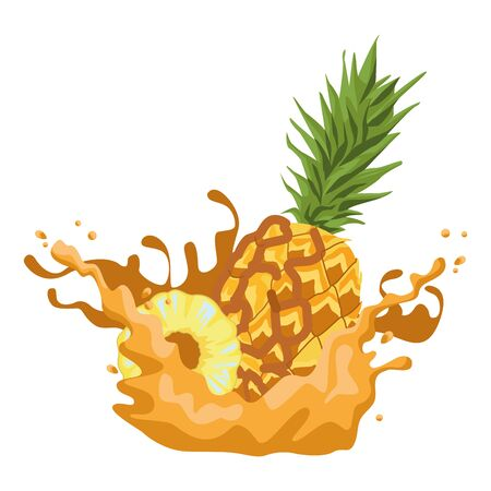 Pineapple fruit half cut with resfreshment drink splash vector illustration graphic design