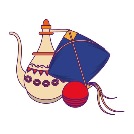indian traditional teapot with cricket ball and kite icon cartoon vector illustration graphic design