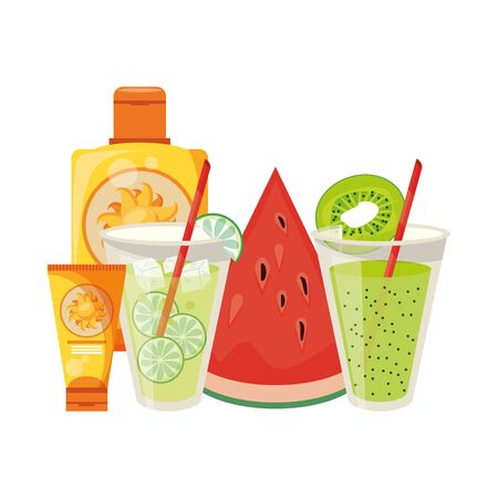 Lemonade and kiwi juice with sun bronzer bottles and watermelon vector illustration graphic design