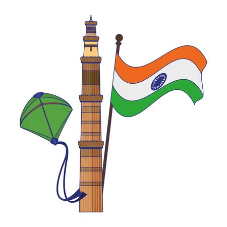 India independence day with patriotic emblems flag tower and kite cartoons vector illustration graphic design Çizim