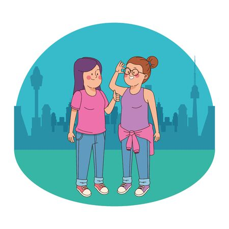 Teenagers friends girls smiling and greeting in the city park, urban cityscape scenery background ,vector illustration graphic design.