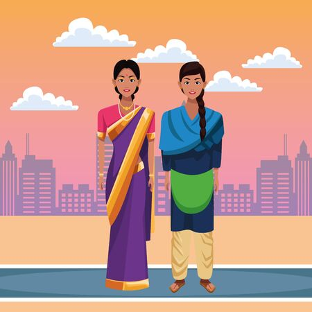 indian women wearing traditional hindu clothes woman with braid and woman wearing sari and jewelry profile picture avatar cartoon character portrait outdoor over the street with sand, clouds in the desert and cityscape with skyscraper in orange tone vector illustration graphic design