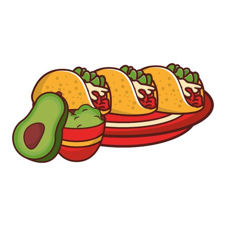 mexico culture and foods cartoons plate with tacos and guacamole also avocado vector illustration graphic design  イラスト・ベクター素材
