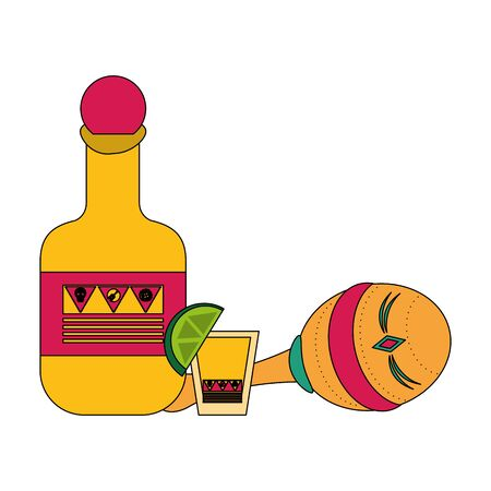 Mexico celebrations tequila bottle and shot with maraca cartoons vector illustration graphic design