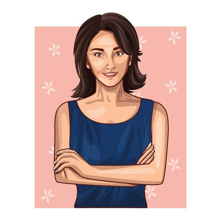 Pop art beautiful woman with short hair profile cartoon on pink frame background ,vector illustration graphic design.