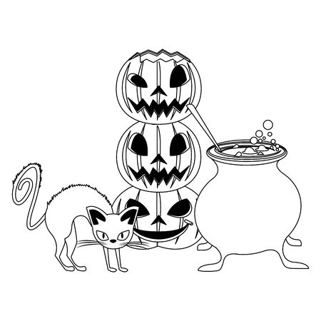 halloween october scary celebration, witch cat with cooking pot and pumpkins cartoon vector illustration graphic design