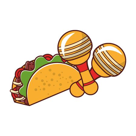 mexico culture and foods cartoons rattles and taco vector illustration graphic design Иллюстрация