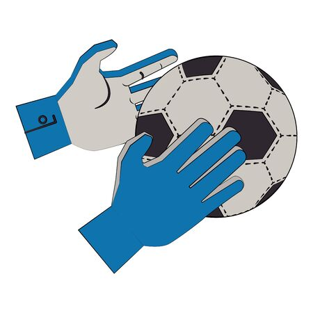 Soccer football sport game goalkeeper gloves holding ball vector illustration graphic design Illusztráció