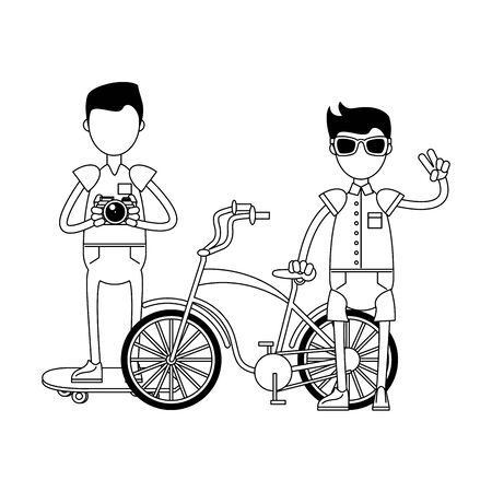 hipster boys with retro accessories and vintage bicycle skateboard and camera isolated Vector design illustration Stock Illustratie