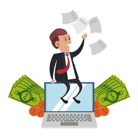 state government taxes business, executive business man managing personal saving money finances cartoon vector illustration graphic design