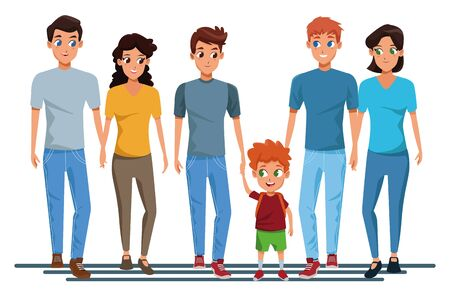 Family young fathers and mothers parents with childrens holding school backpacks cartoon isolated vector illustration graphic design Stock Illustratie