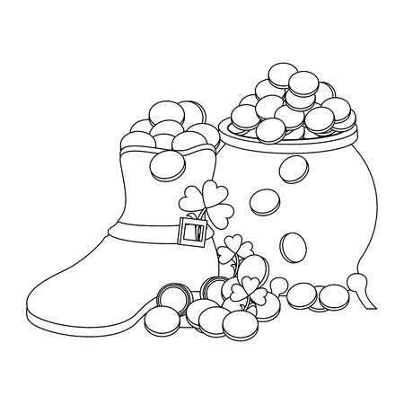 saint patricks day irish tradition green leprechaun boot with golden coins pot and clovers cartoon vector illustration graphic design