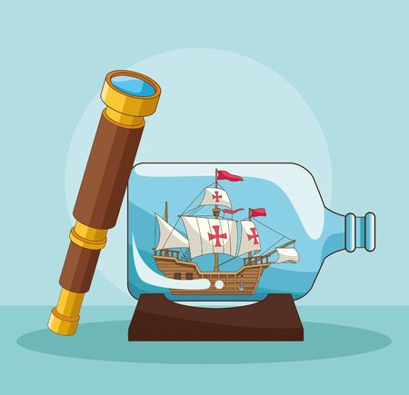 Antique sea navigation tools telescope and boat in bottle cartoons on blue background vector illustration graphic design