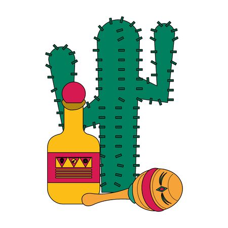 Mexico tequila bottle with maraca and cactus celebrations cartoons vector illustration graphic design  イラスト・ベクター素材