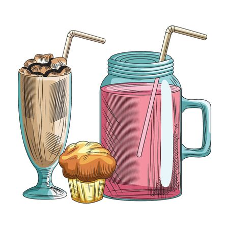 Fresh fruit nutrition healthy grouped colorful milkshake and juice glasses with muffin fitness diet options drawing vector illustration graphic design