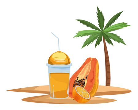 tropical fruit and smoothie drink with orange and papaya icon cartoon over sand with palm background vector illustration graphic design