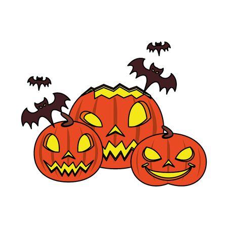 halloween october scary celebration, pumpkins with bats cartoon vector illustration graphic design
