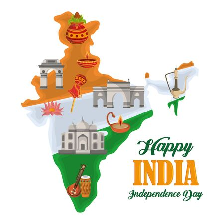 India independence day card with patriotic monuments and emblems, poster holiday vector illustration graphic Ilustracja