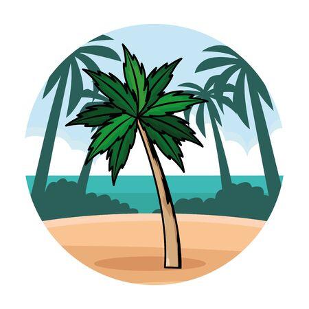 Palm beach tree nature cartoon in beach scenery round background vector illustration graphic design