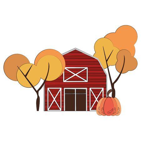 Autumn season cute barn trees and pumpkin cartoons vector illustration graphic design