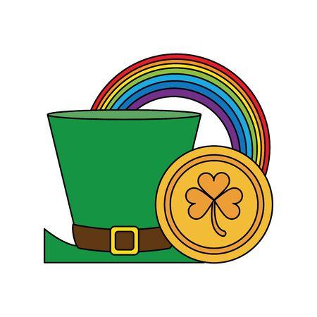 saint patricks day irish tradition leprechaun hat with rainbow and clover coin cartoon vector illustration graphic design