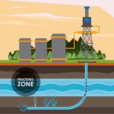 Fracking zone, oil pump with water tank extracting petroleum from suboil with pipes. vector illustration graphic design