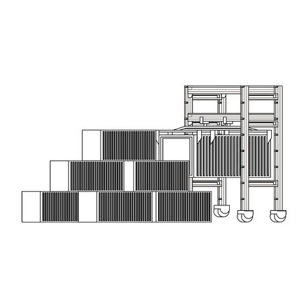 shipping logistic delivery cargo, containers in sea port with crane cartoon vector illustration graphic design Stock Illustratie