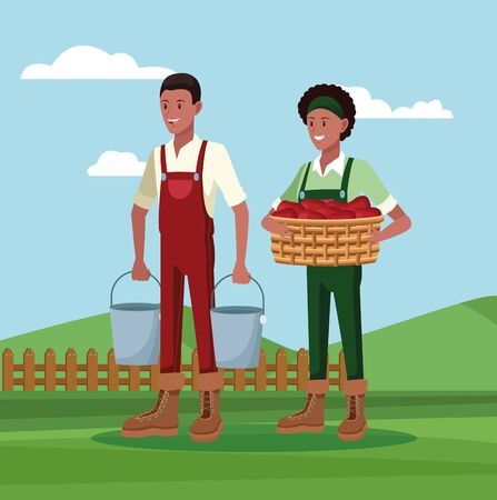 Farmers with tools and harvest working in farm camp, agriculture and nature. vector illustration