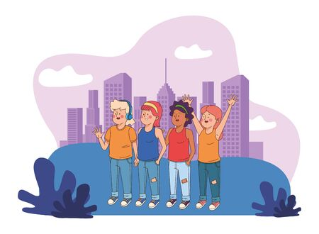 Teenagers friends smiling and greeting with cool clothes and accesories in the city, urban cityscape scenery ,vector illustration.