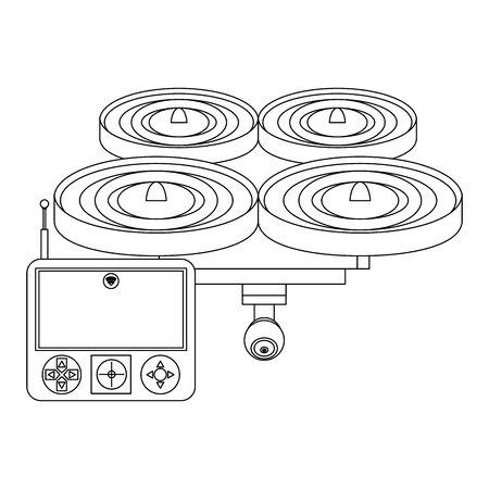 air drone remote control technology device cartoon vector illustration graphic design 일러스트