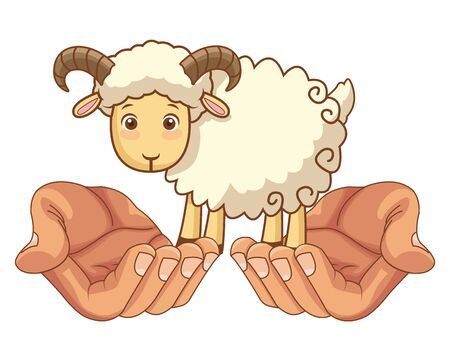 Hands holding goat cartoon isolated vector illustration graphic design