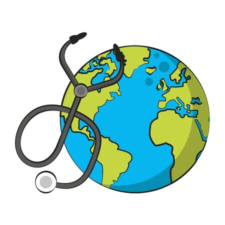 world map earth globe with medical stethoscope isolated cartoon vector illustration graphic design