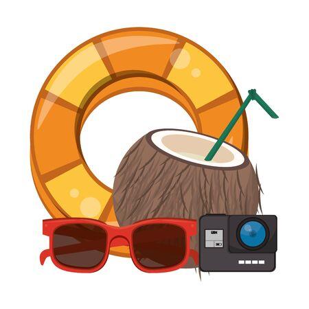 Summer coconut cocktail camera sunglasses and float cartoons vector illustration graphic design