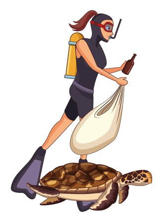 scuba diver avatar woman diving picking a garbage from the sea and putting in a bag with big turtle vector illustration graphic design