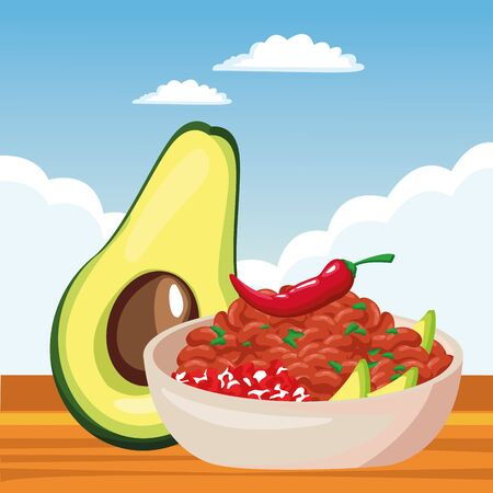 mexican traditional culture with avocado, bowl of beans and chili pepper icon cartoon over the sand with cloudy sky in a desert landscape vector illustration graphic design