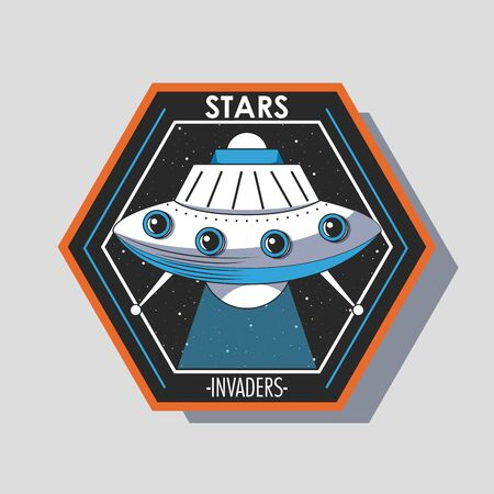 Space explorer patch emblem UFO taking off design on gray background vector illustration graphic design
