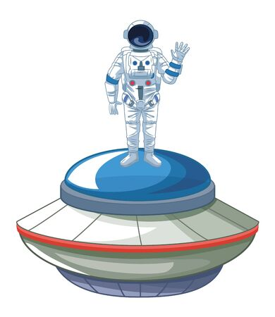 space exploration astronaut saying hi over a flying saucer icon cartoon vector illustration graphic design