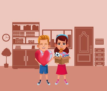 kids fun playing with friends vector illustration