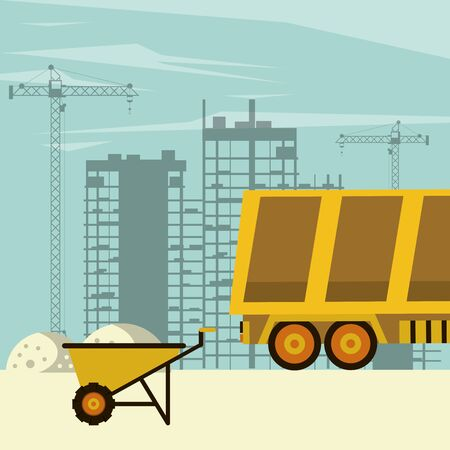 Cargo truck and wheelbarrow in construction zone scenery with machinery vector illustration graphic design