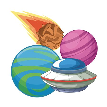 space exploration flying saucer, comet icon cartoon vector illustration graphic design