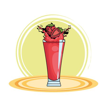 Strawberries splashing refreshment drink natural juice on round base vector illustration graphic design