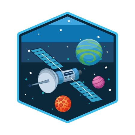 Space satellite in the milkyway space hexagonal frame vector illustration graphic design